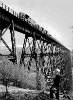 A late 50s look at the 301 foot high Kinzua Viaduct.